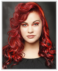 Model with long bright red hair